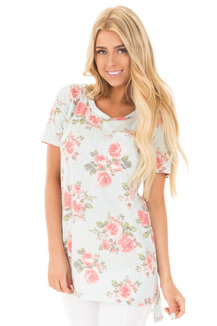 Mint Floral Two Tone Tunic Tee with Breast Pocket front close up