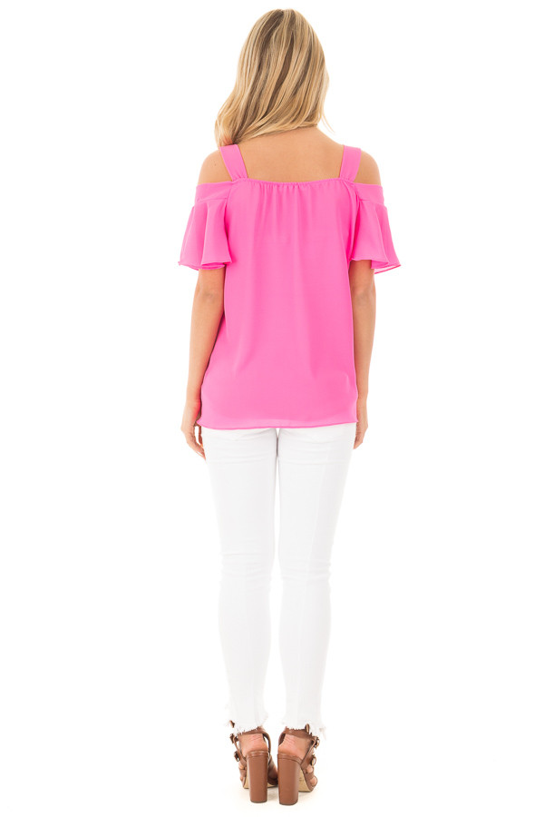 Hot Pink Cold Shoulder Chiffon Flowy Top back full body