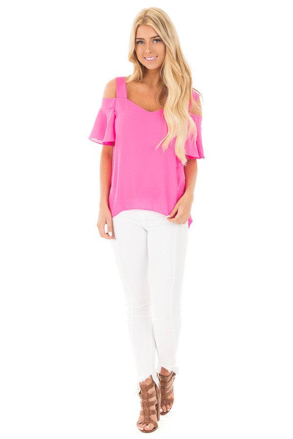 Hot Pink Cold Shoulder Chiffon Flowy Top front full body