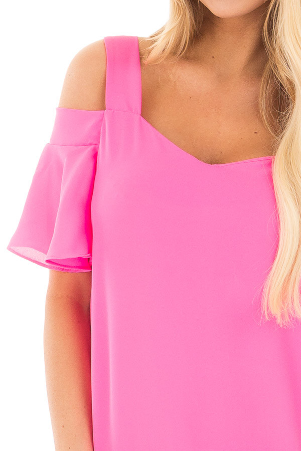 Hot Pink Cold Shoulder Chiffon Flowy Top detail