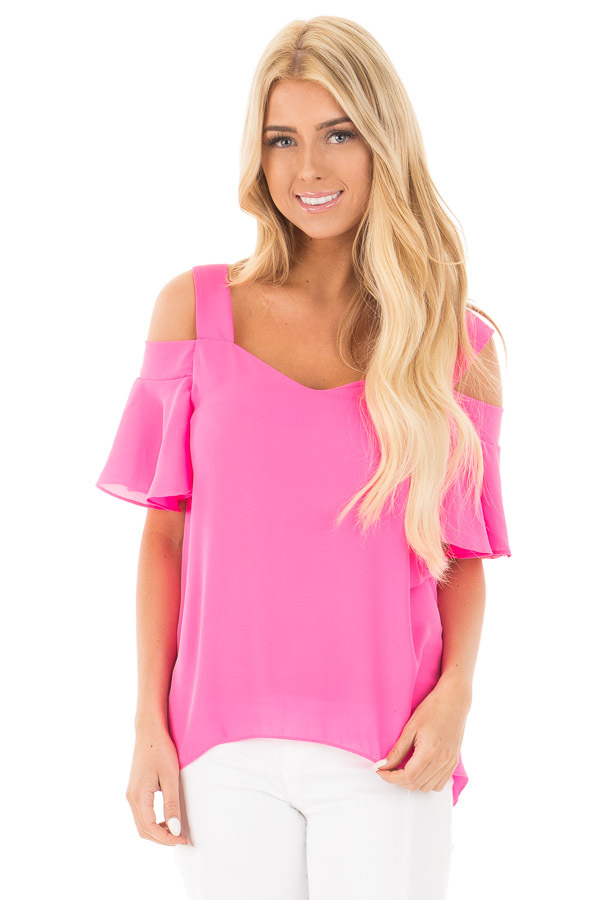Hot Pink Cold Shoulder Chiffon Flowy Top front close up