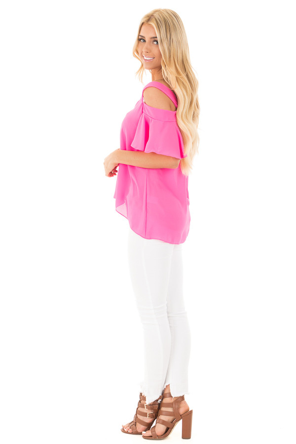 Hot Pink Cold Shoulder Chiffon Flowy Top side full body