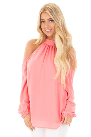 Coral Chiffon Cold Shoulder Mock Neck Blouse front close up