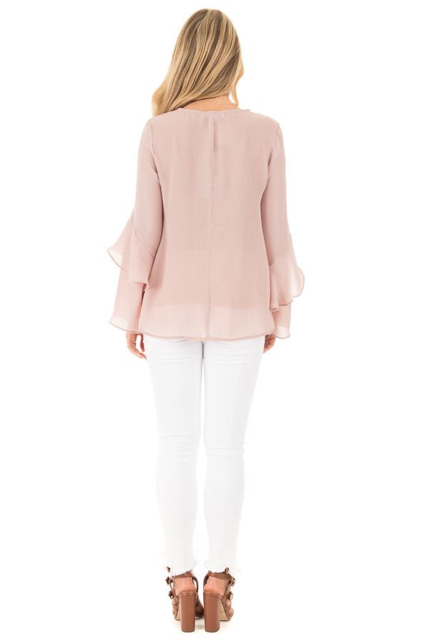 Champagne Chiffon Blouse with Tiered Ruffle Sleeves back full body