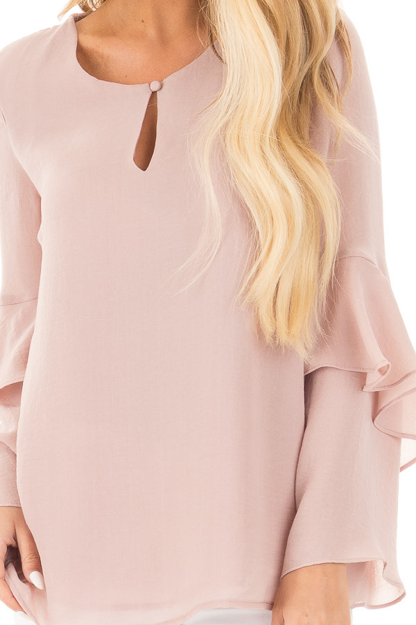 Champagne Chiffon Blouse with Tiered Ruffle Sleeves detail