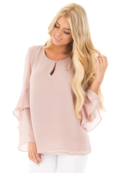 Champagne Chiffon Blouse with Tiered Ruffle Sleeves front close up