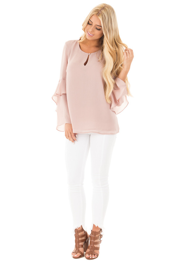 Champagne Chiffon Blouse with Tiered Ruffle Sleeves front full body