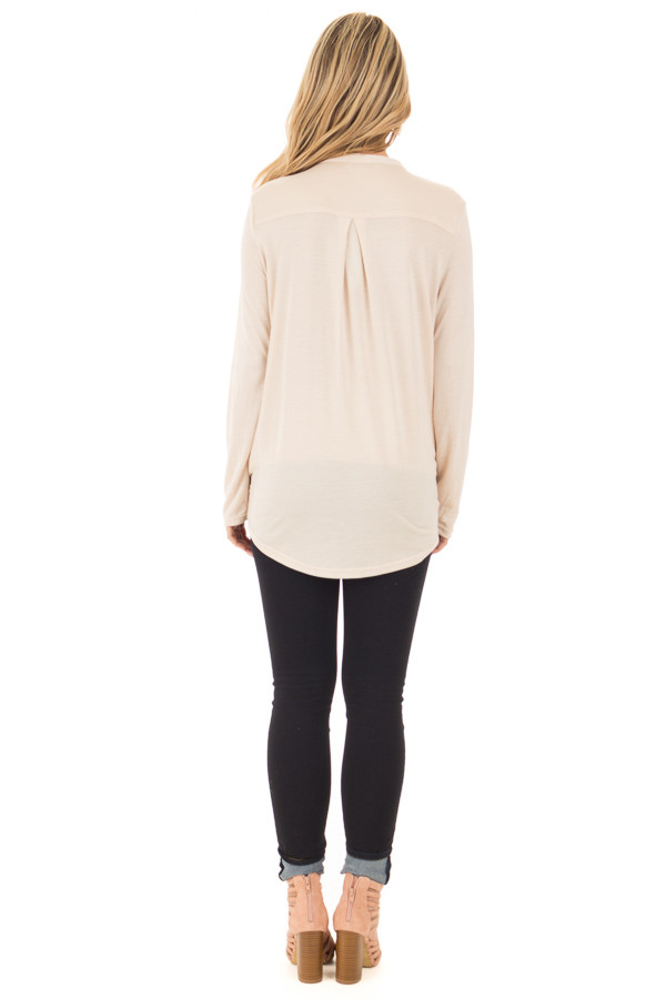 Beige Surplice Long Sleeve Top with V Neck Keyhole back full body
