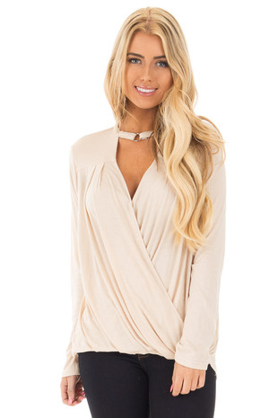 Beige Surplice Long Sleeve Top with V Neck Keyhole front close up