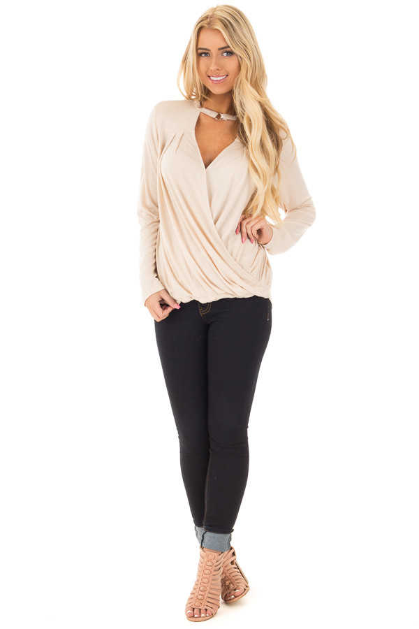 Beige Surplice Long Sleeve Top with V Neck Keyhole front full body