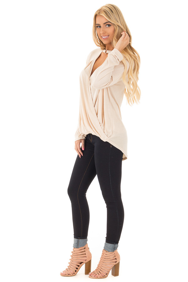 Beige Surplice Long Sleeve Top with V Neck Keyhole side full body