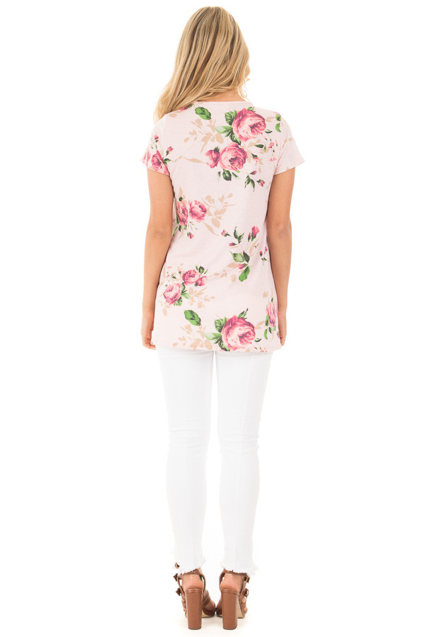 Blush Floral Tunic with Criss Cross Cut Out Neckline back full body