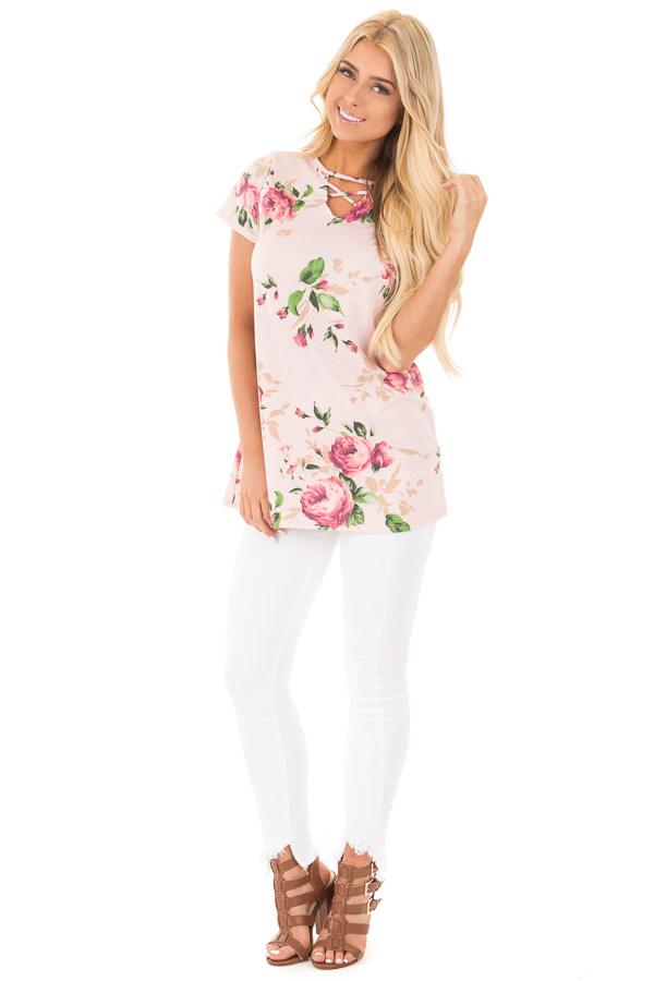 Blush Floral Tunic with Criss Cross Cut Out Neckline front full body