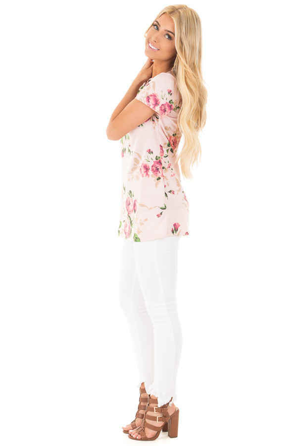Blush Floral Tunic with Criss Cross Cut Out Neckline side full body