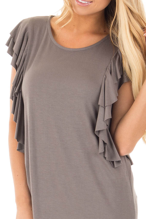 Charcoal Top with Layered Ruffle Cap Sleeves and Sides detail