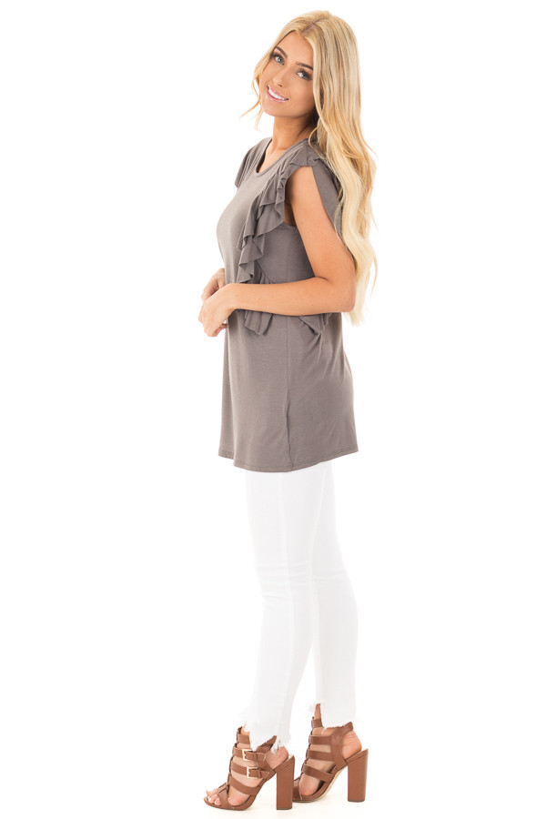 Charcoal Top with Layered Ruffle Cap Sleeves and Sides side full body