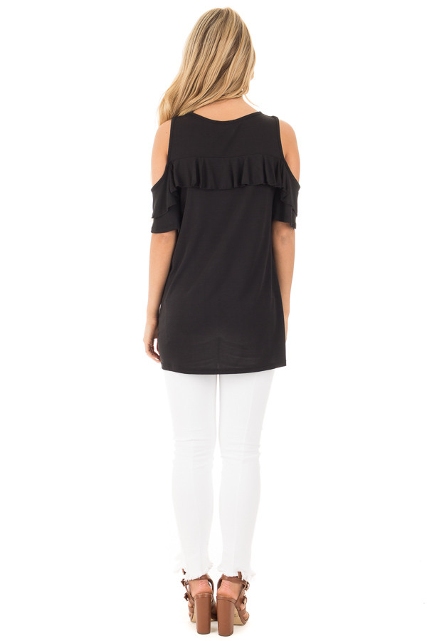 Black Jersey Knit Cold Shoulder Top with Ruffle Details back full body