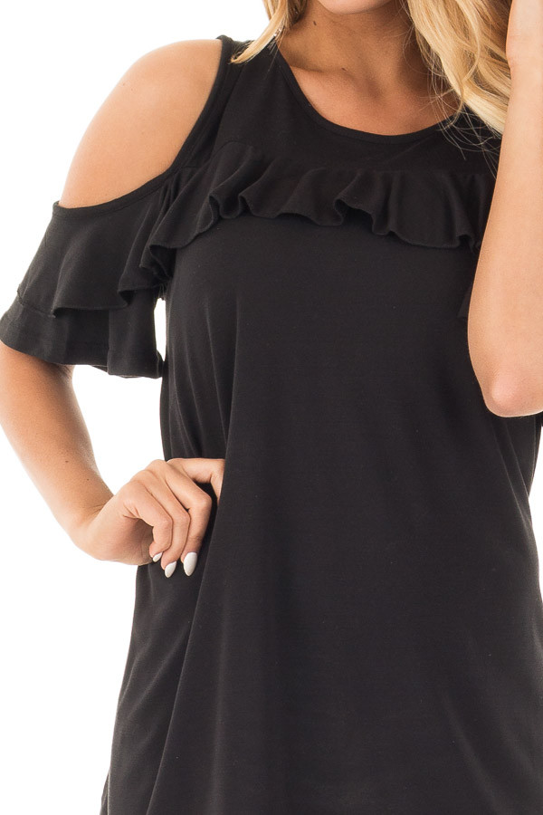 Black Jersey Knit Cold Shoulder Top with Ruffle Details detail