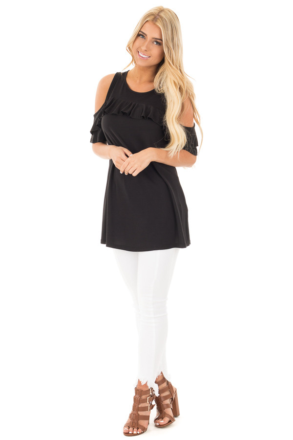Black Jersey Knit Cold Shoulder Top with Ruffle Details front full body