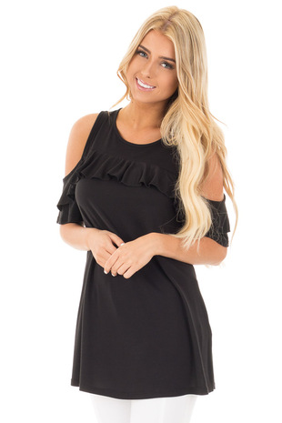 Black Jersey Knit Cold Shoulder Top with Ruffle Details front close up