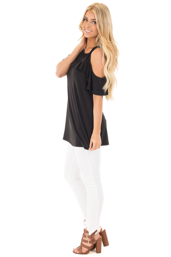 Black Jersey Knit Cold Shoulder Top with Ruffle Details side full body