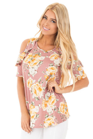 Mauve Floral Cold Shoulder Top with Ruffle Sleeve Details front close up