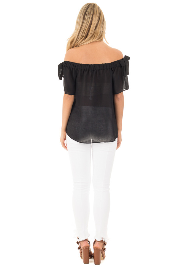 Black Chiffon Off the Shoulder Blouse with Sleeve Ties back full body