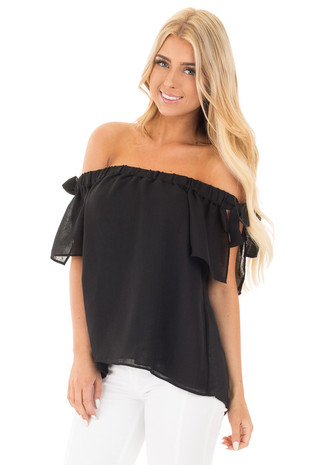 Black Chiffon Off the Shoulder Blouse with Sleeve Ties front close up