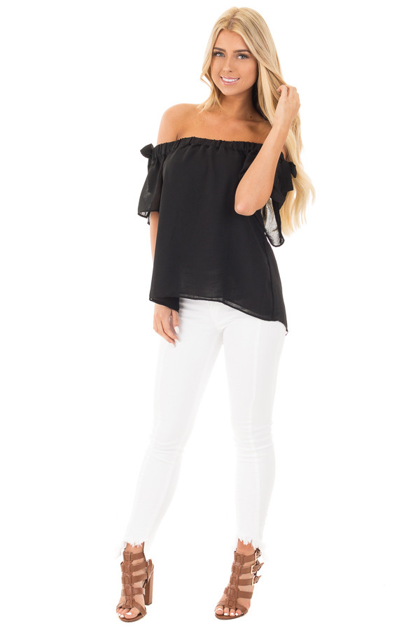 Black Chiffon Off the Shoulder Blouse with Sleeve Ties front full body