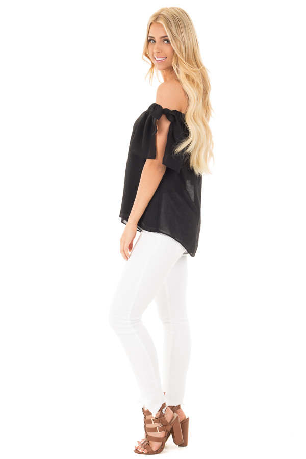 Black Chiffon Off the Shoulder Blouse with Sleeve Ties side full body