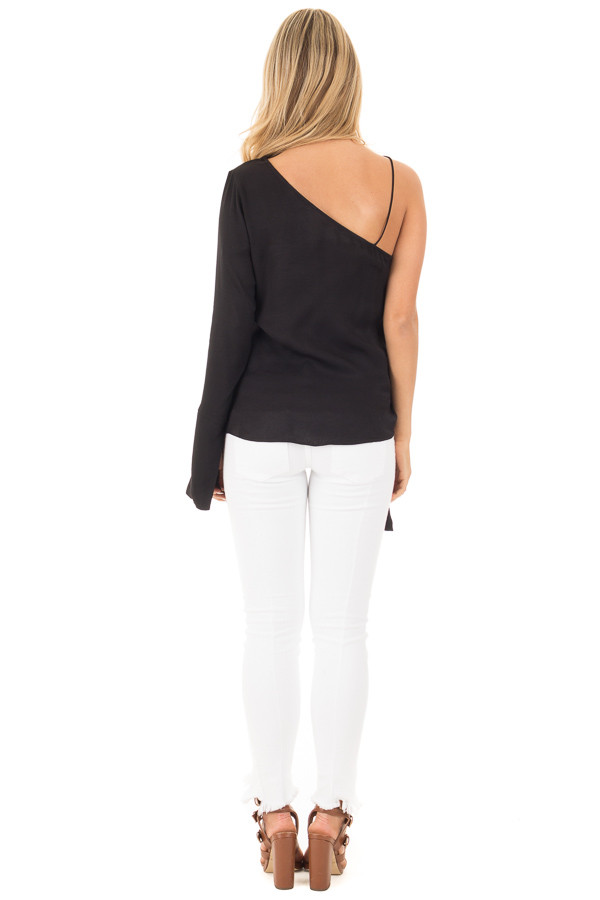 Black Woven One Shoulder Long Sleeve Top with Tie Detail back full body