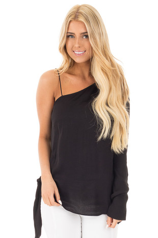 Black Woven One Shoulder Long Sleeve Top with Tie Detail front full body