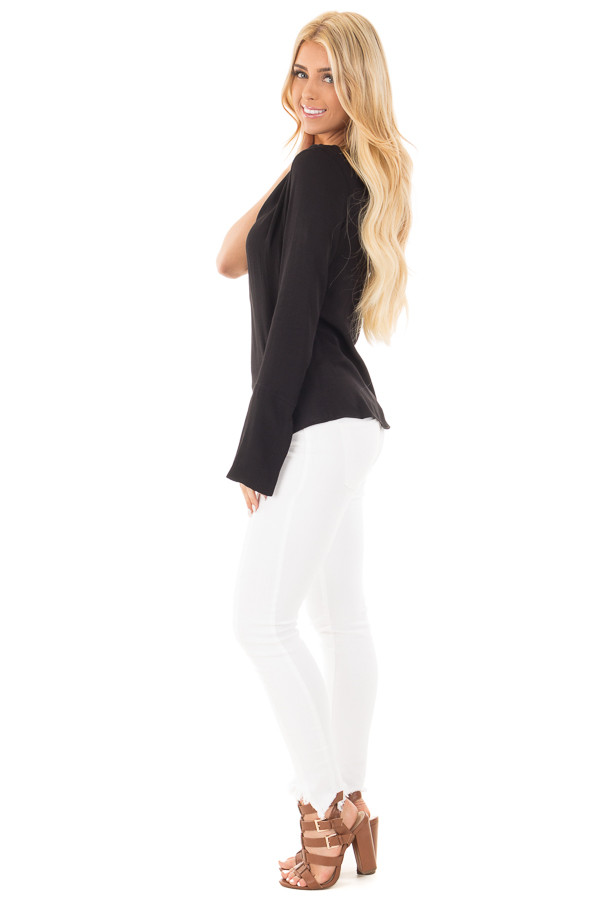 Black Woven One Shoulder Long Sleeve Top with Tie Detail side full body