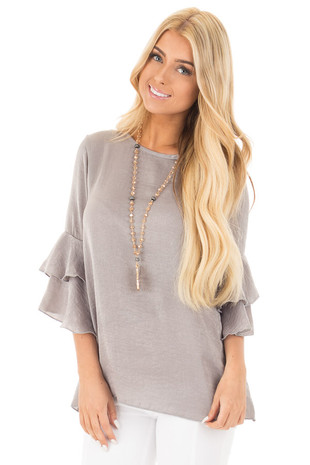 Cloud Grey Silky Blouse with Tiered Ruffle Sleeves front close up