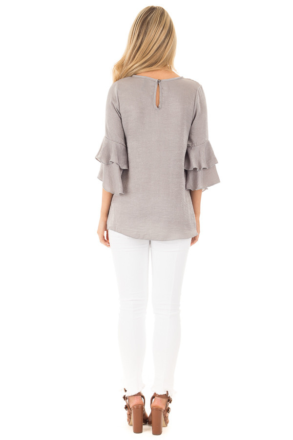 Cloud Grey Silky Blouse with Tiered Ruffle Sleeves back full body