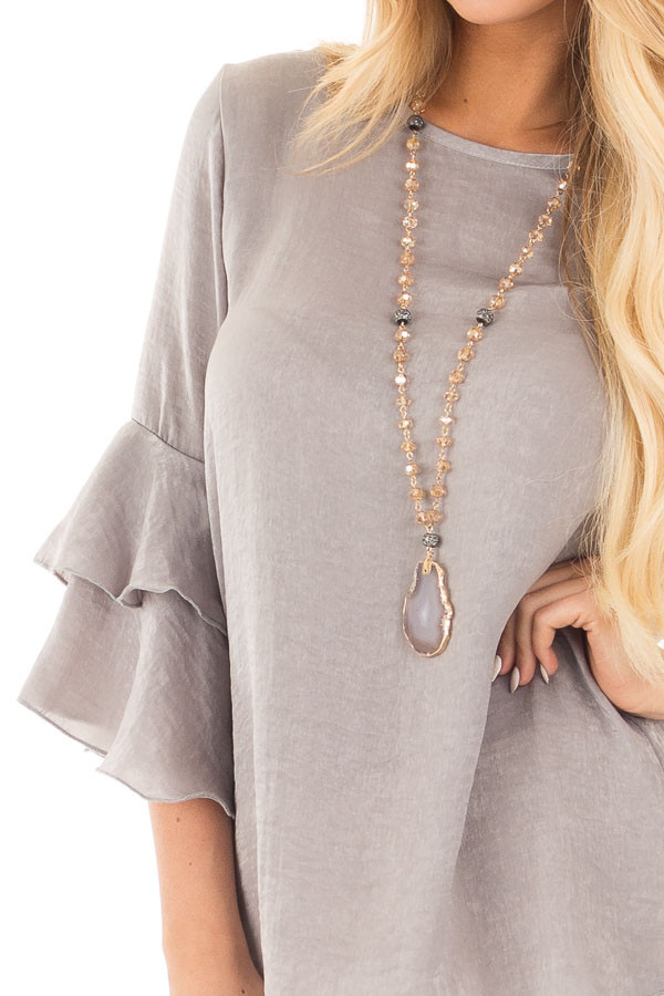 Cloud Grey Silky Blouse with Tiered Ruffle Sleeves detail