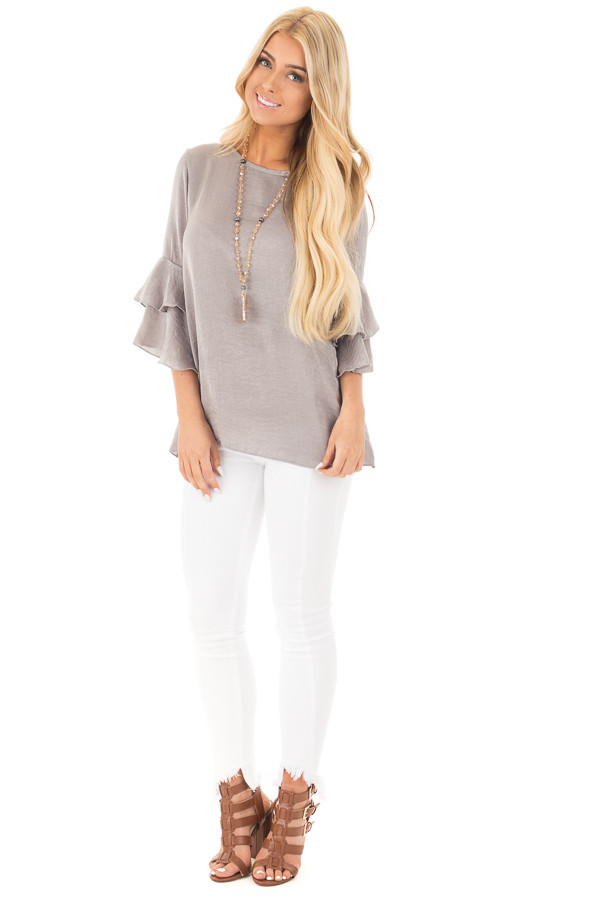Cloud Grey Silky Blouse with Tiered Ruffle Sleeves front full body