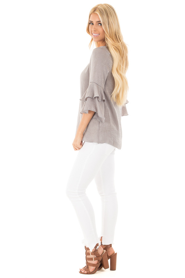 Cloud Grey Silky Blouse with Tiered Ruffle Sleeves side full body