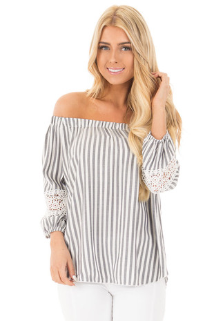 Charcoal Striped Off the Shoulder Top with Crochet Detail front close up