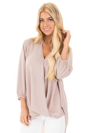 Light Mocha Wrap Style V Neck Blouse front close up