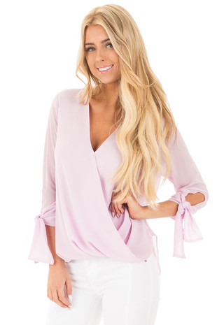 Lavender Crossover Drape V Neck Top with Tie Detail Sleeves front close up