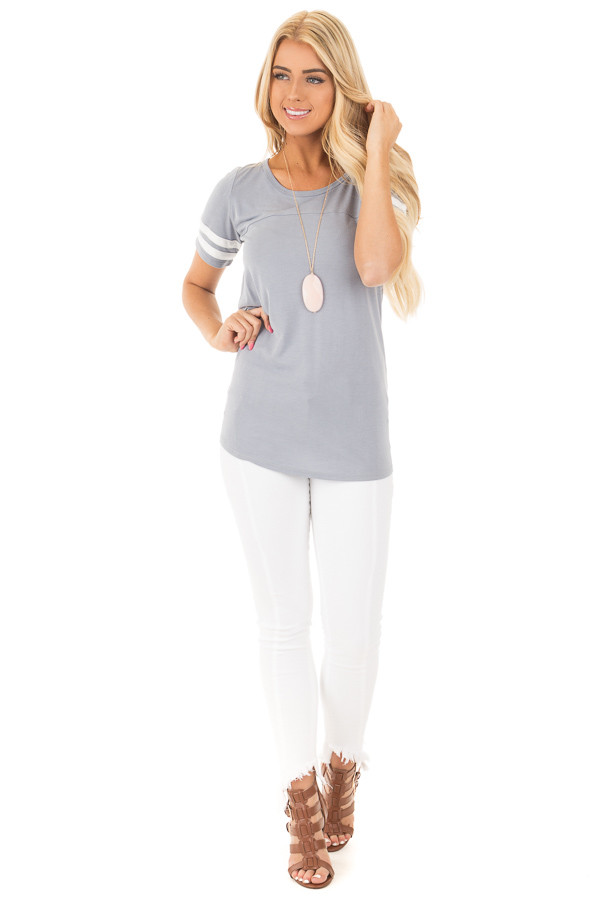 Dusty Blue Scoop Neck Tunic Tee with Striped Sleeve Detail front full body