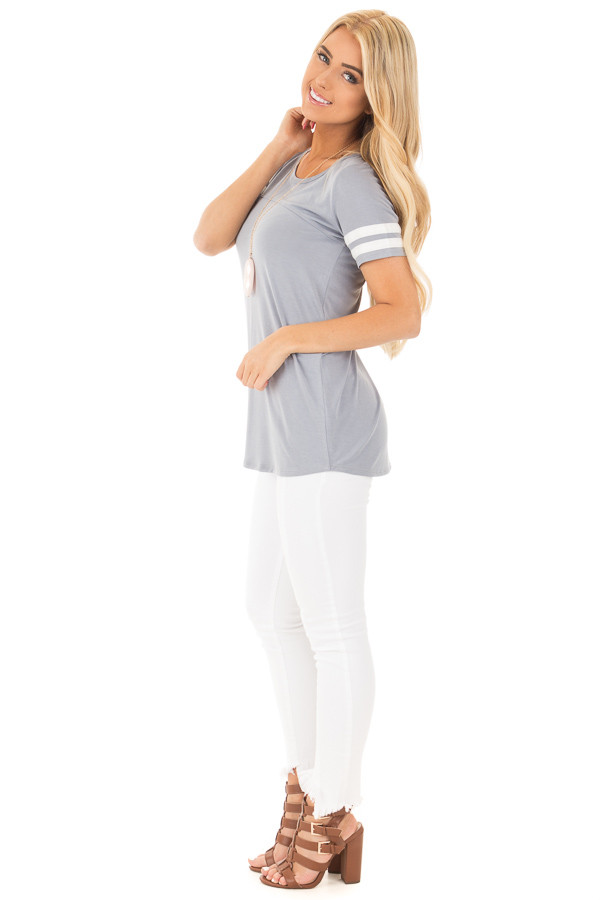Dusty Blue Scoop Neck Tunic Tee with Striped Sleeve Detail side full body