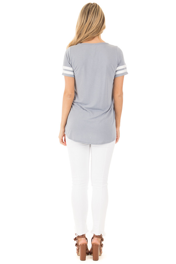 Dusty Blue Scoop Neck Tunic Tee with Striped Sleeve Detail back full body