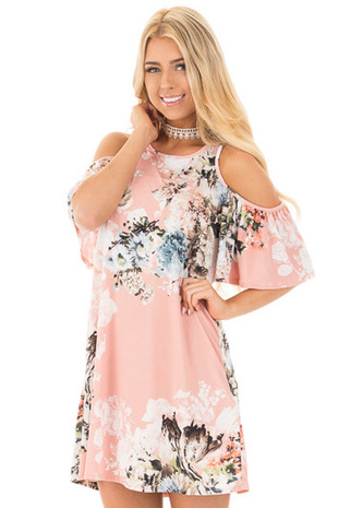 Blush Floral Print Cold Shoulder Dress front close up