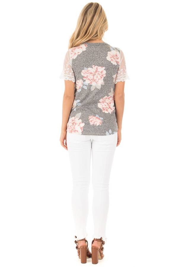 Charcoal Floral Two Tone Tee with Detailed Lace Sleeves back full body