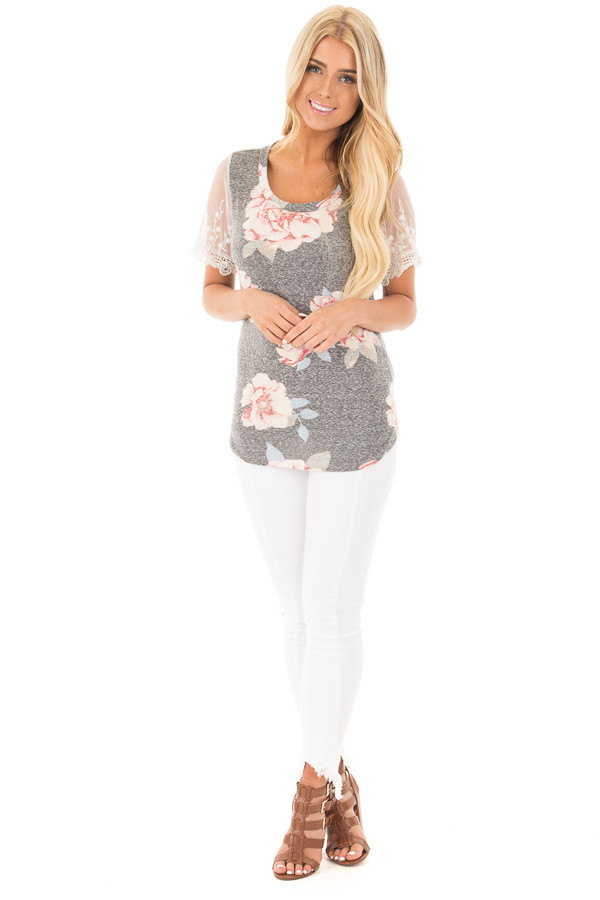 Charcoal Floral Two Tone Tee with Detailed Lace Sleeves front full body