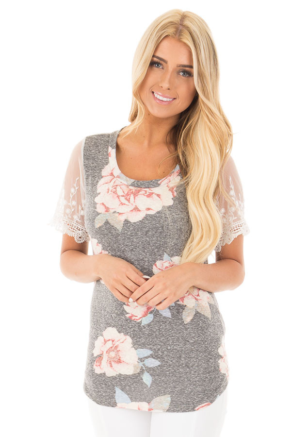 Charcoal Floral Two Tone Tee with Detailed Lace Sleeves front close up
