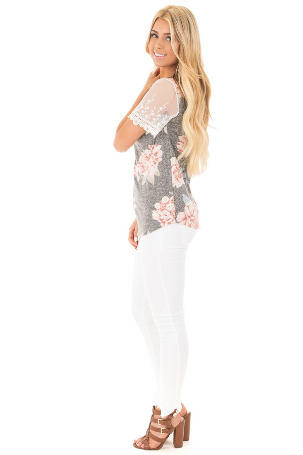 Charcoal Floral Two Tone Tee with Detailed Lace Sleeves side full body