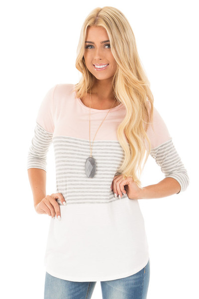 Blush and Ivory Tee with Solid and Striped Color Blocks front close up